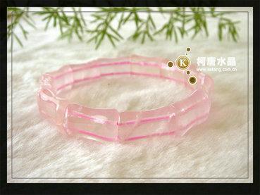 天然水晶手链 粉晶竹节形手链 骨头形状手链