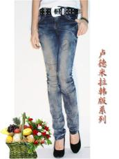 卢德米拉女式品牌牛仔裤批发 中高档牛仔裤