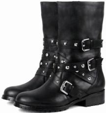 11新品正品牛皮短靴圆头铆钉中跟机车靴女时尚欧美