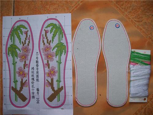 鸿运玫瑰十字绣鞋垫蓝玫瑰系列十字绣针孔鞋垫