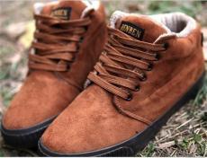 純色無裝飾鞋舌貼標絨面男款系帶保暖休閑短靴