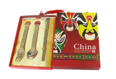 高档商务礼品 中华戏剧脸谱餐具 勺叉筷三件套